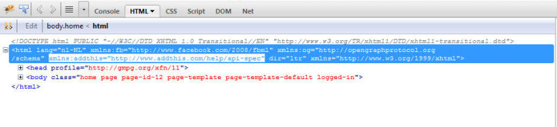 Screenshot of the HTML  tag which now includes the xmlns:addthis entry!