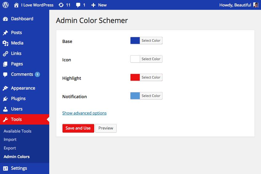 Admin color schemer in action