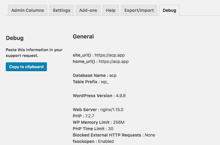 Example of Debug page