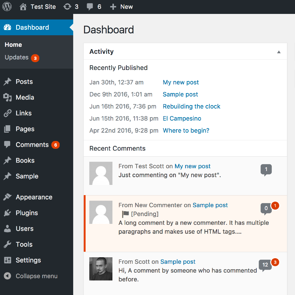 A screenshot of the 'Activity' admin dashboard widget with the comment count appearing next to the commenter's name.