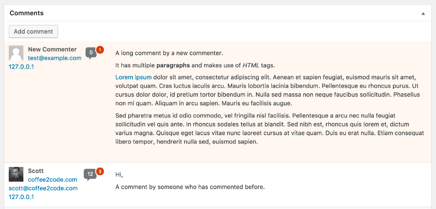 A screenshot of the 'Comments' metabox on the 'Edit Post' admin page with the comment count appearing next to the commenter's name.