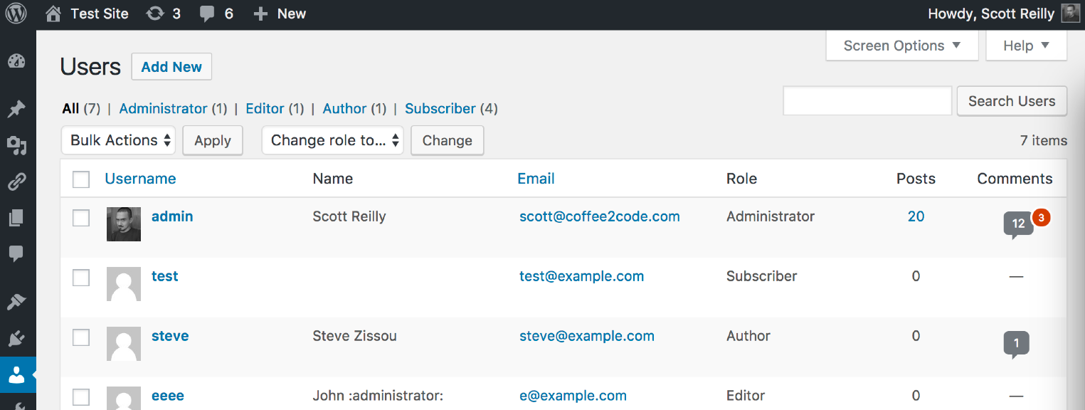 A screenshot of the 'Comments' column added to the admin users listing.