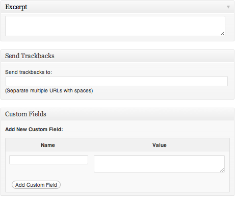 A screenshot of some of the panels of the 'Edit Post' admin page <em>after</em> this plugin is activated.