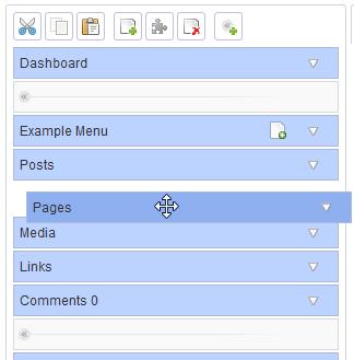 Re-ordering menu items via drag and drop