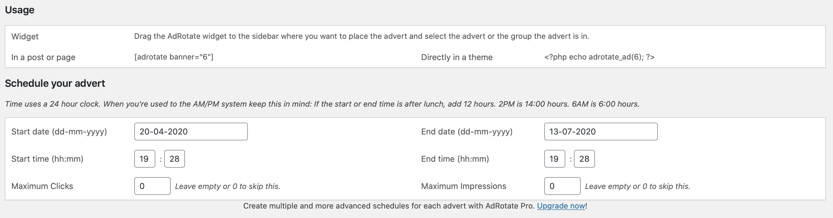 Schedule you advert to the minute with AdRotate