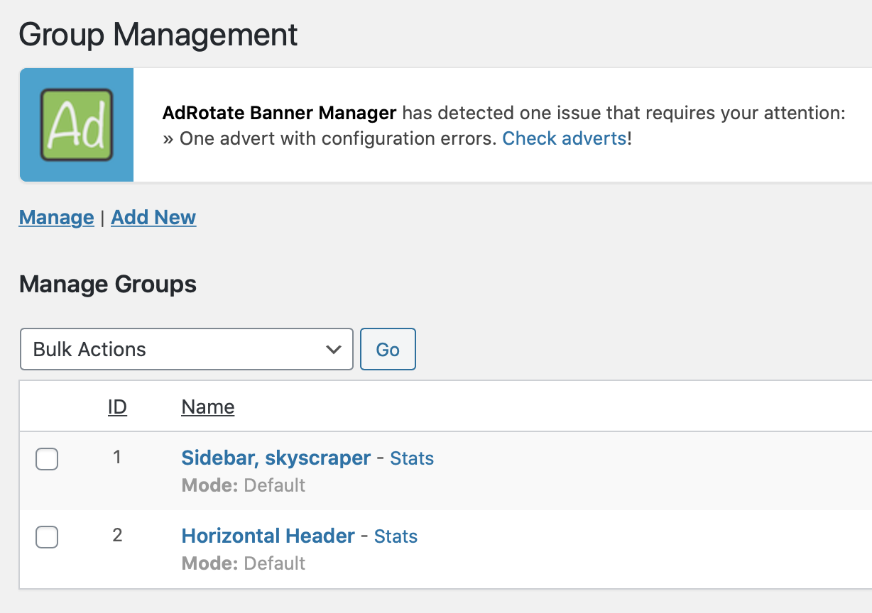 Manage groups, which can act as locations or slots on your website via AdRotate