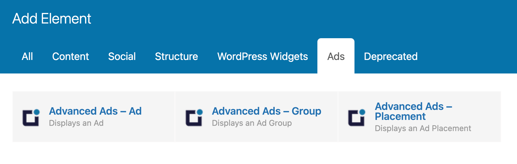 New Ad elements added to the Ad group in Visual Composer