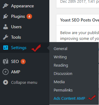 Ads on Content AMP Settings
