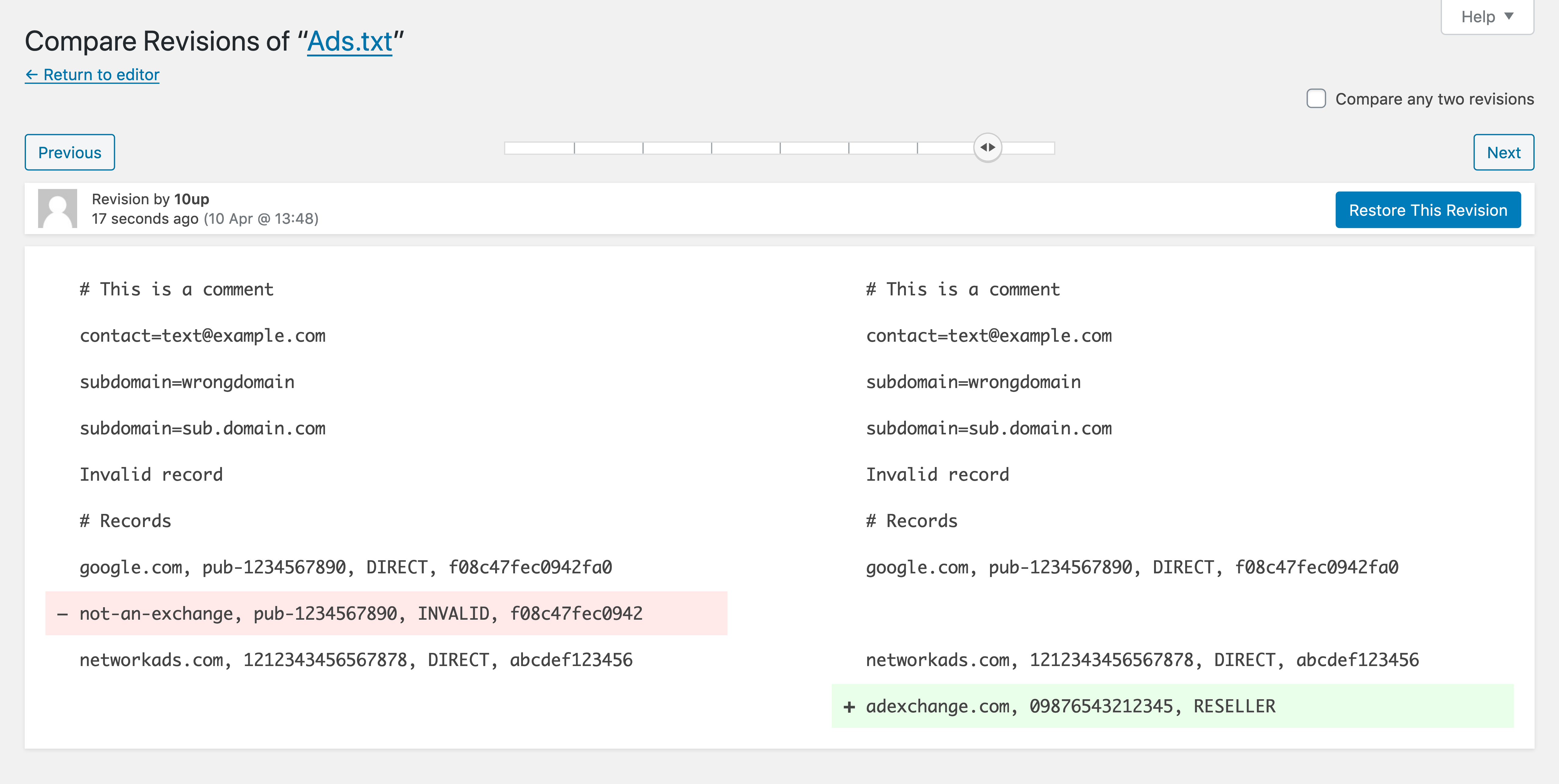 Example of comparing ads.txt file revisions.