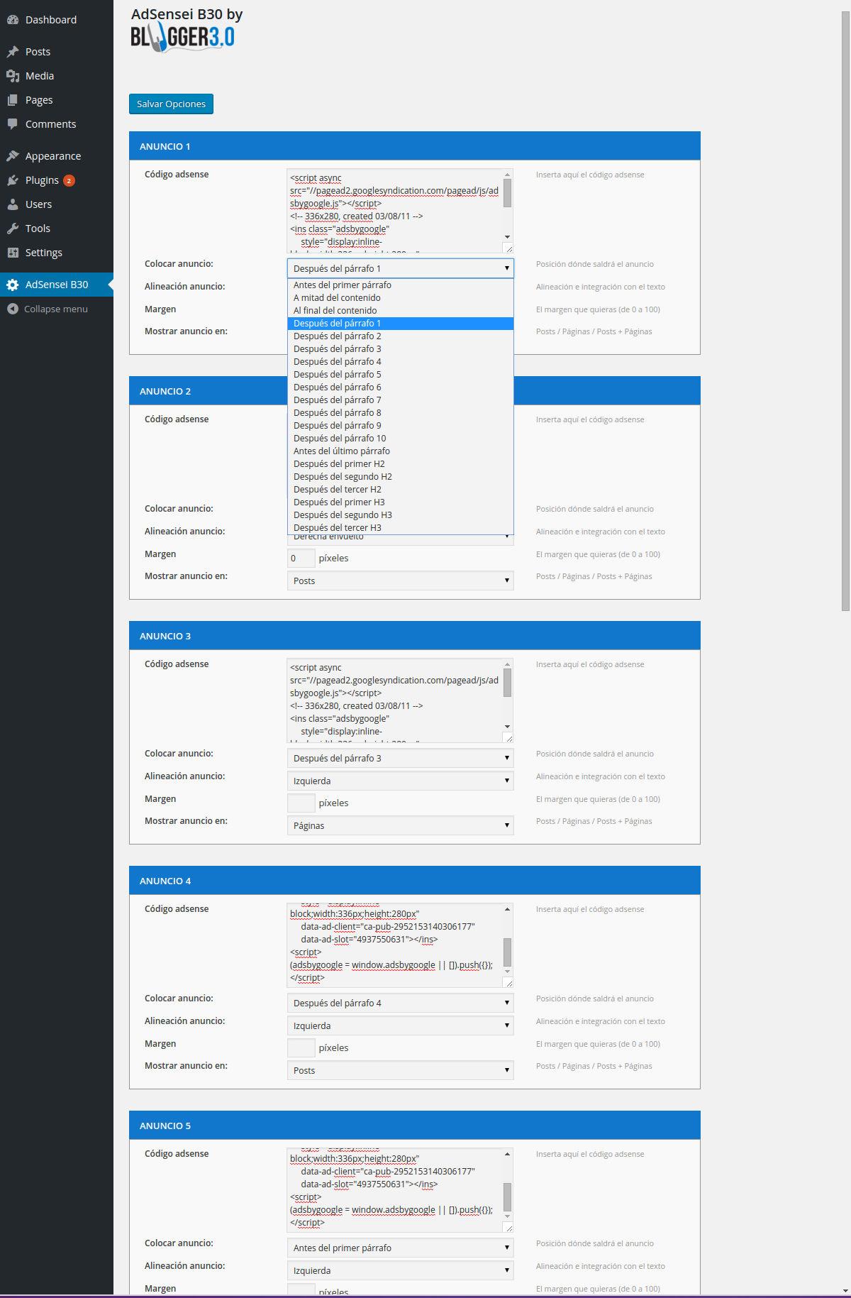 Panel de Control: hasta 10 anuncios altamente configurables