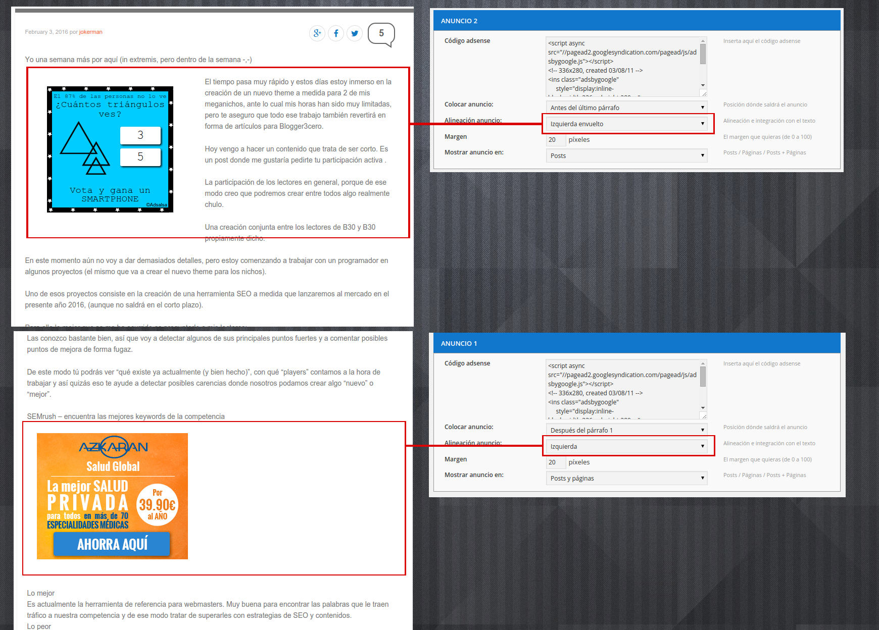 Comparación de alineación 'Izquierda Envuelto' vs 'Izquierda' (también disponible derecha y derecha envuelto)1. Panel de administración del plugin: hasta 10 anuncios altamente configurables