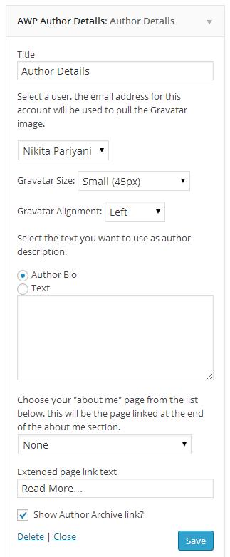 Author Details widget.