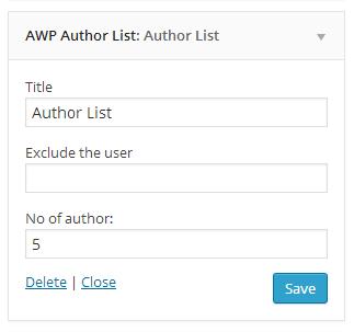 Author List widget.