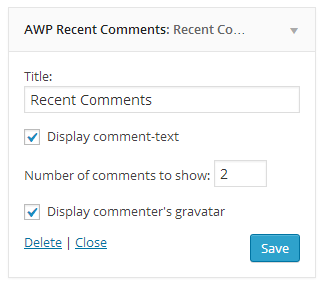Recent Comments widget.