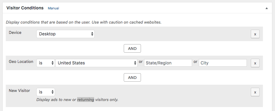 Use various conditions to choose who should see ads (basic plugin and more in add-ons).