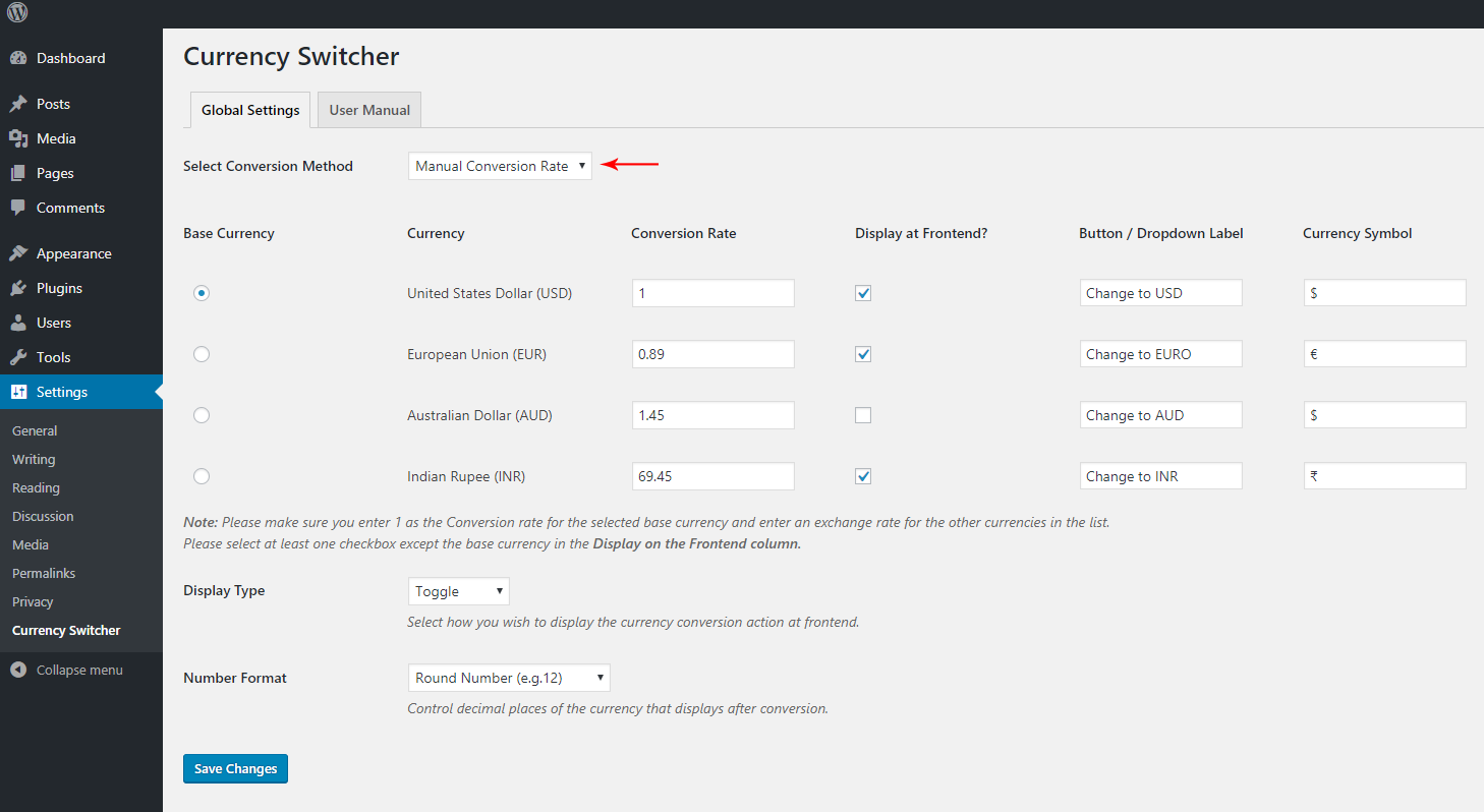 Currency Switcher for WordPress
