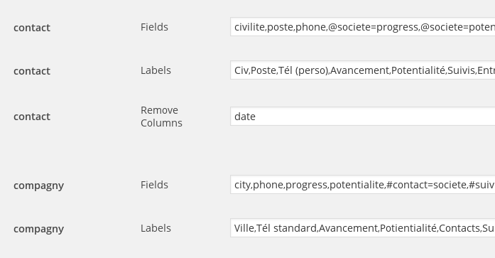 Select custom fields and labels, and remove fields from display