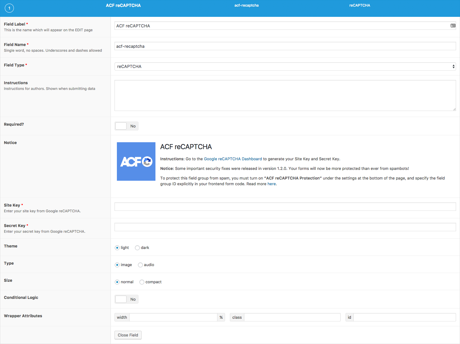 ACF reCAPTCHA customization in the ACF backend page. Enter your site and secret keys here.