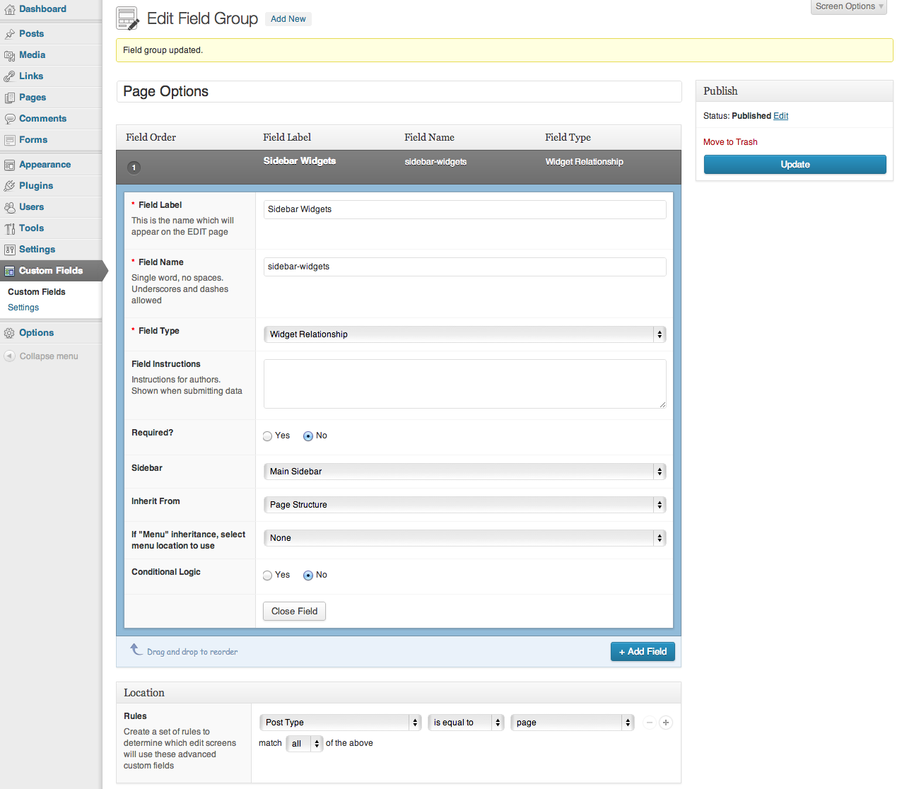 <p>Configuration on ACF settings</p>