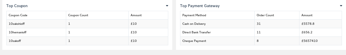 Shows the list of Top Coupons and Payment Gateway.