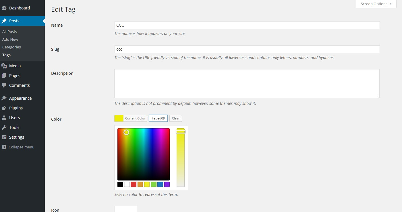 Shown with color picker extension.