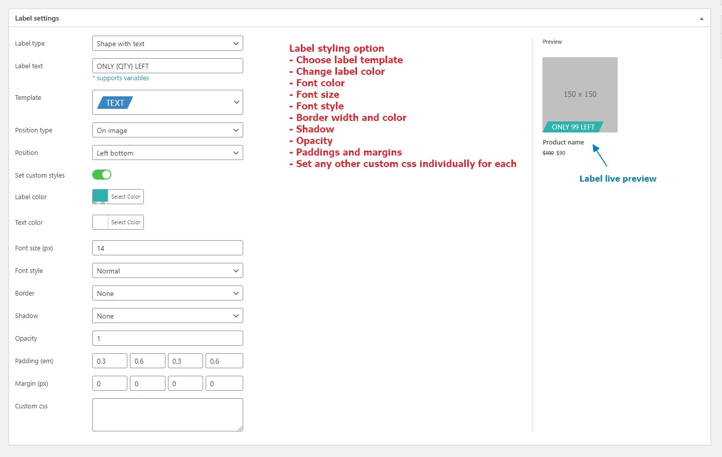 Labels styling options. Admin page