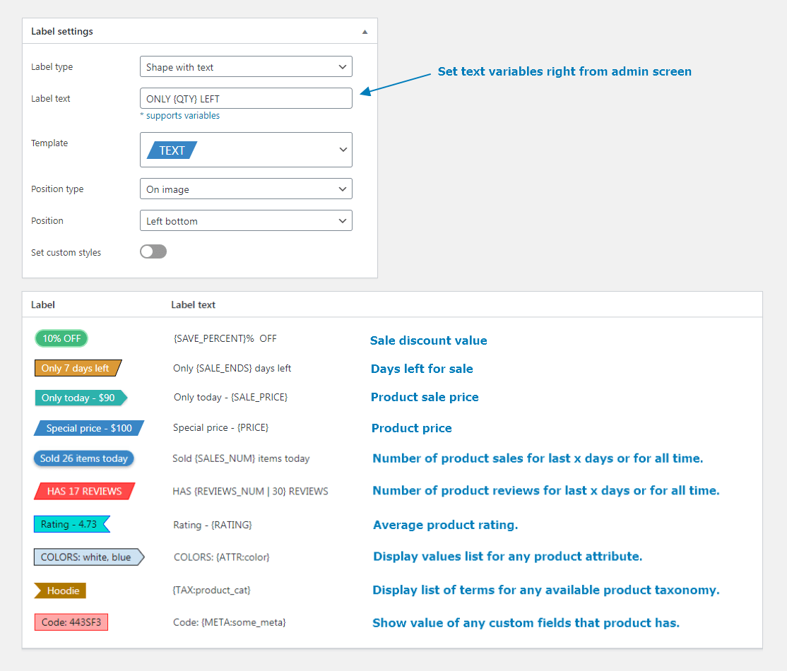 Labels edit page. Text option