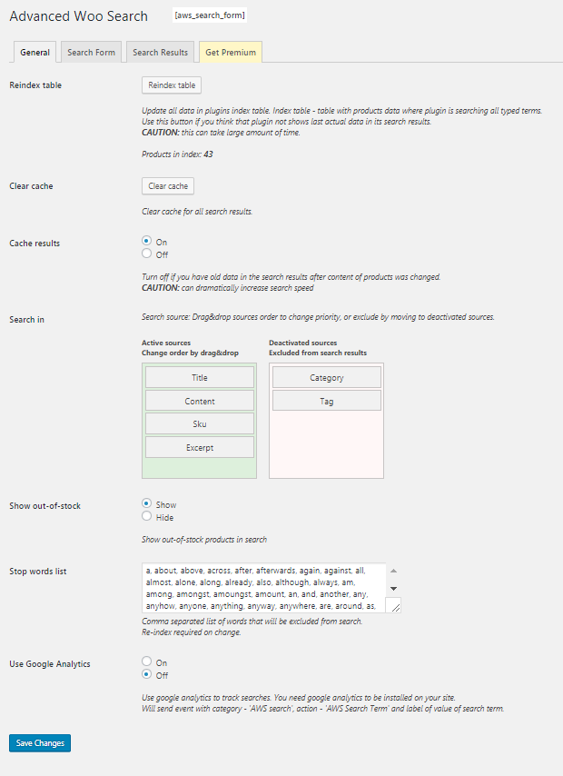 Plugin settings page. Search form options