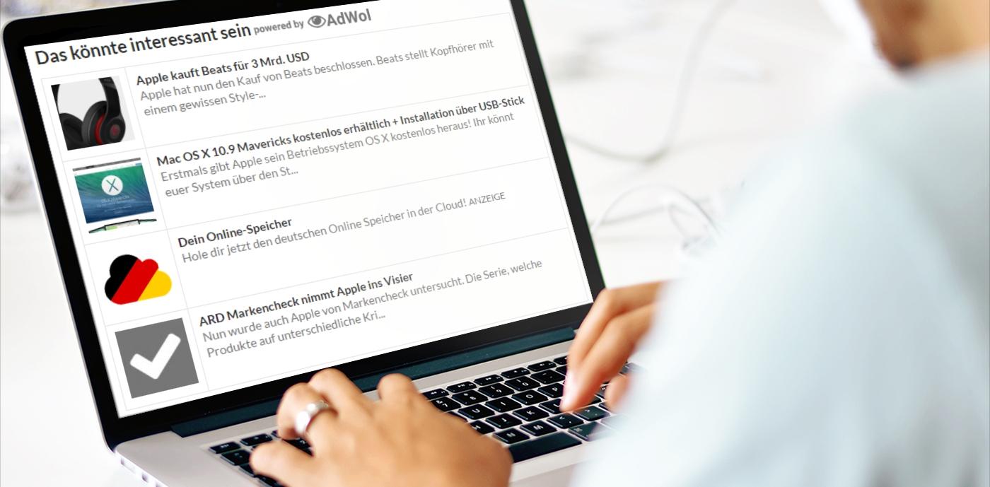 Artikelempfehlungen: Binden Sie die Artikelempfehlungen ein, um mehr Traffic innerhalb Ihrer Seite zu erhalten. Außerdem wird eine native Anzeige mit eingeschaltet.