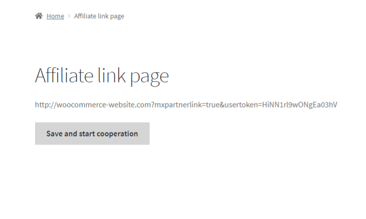 The user can create his own affiliate link