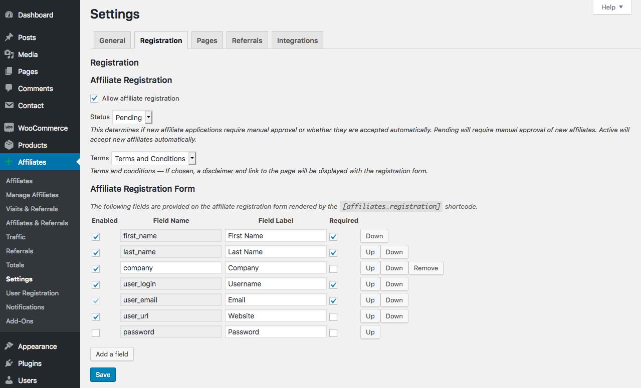 Settings > Registration - Customizable affiliate registration.