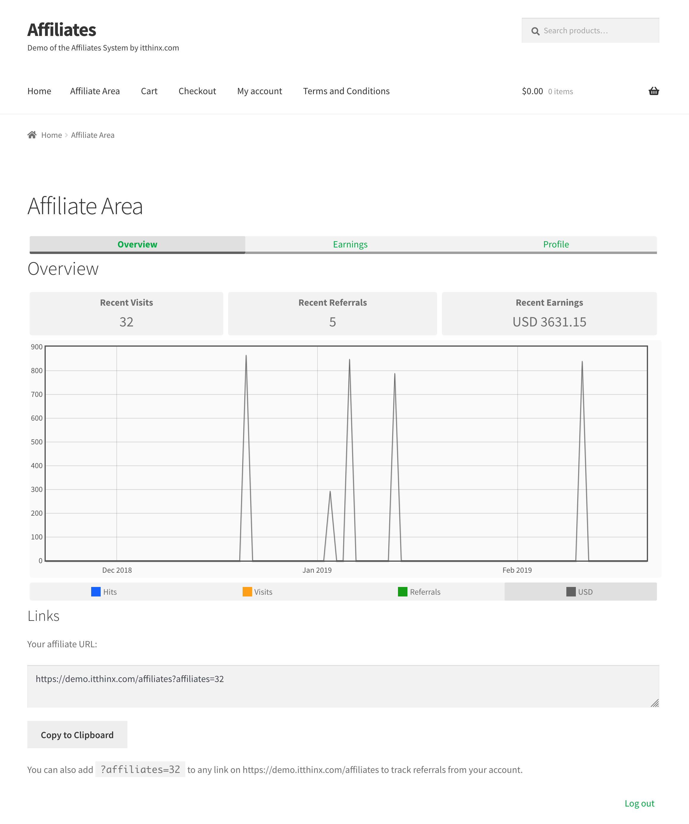 Affiliates Dashboard Overview - Front end affiliate dashboard section viewing the commission graph.