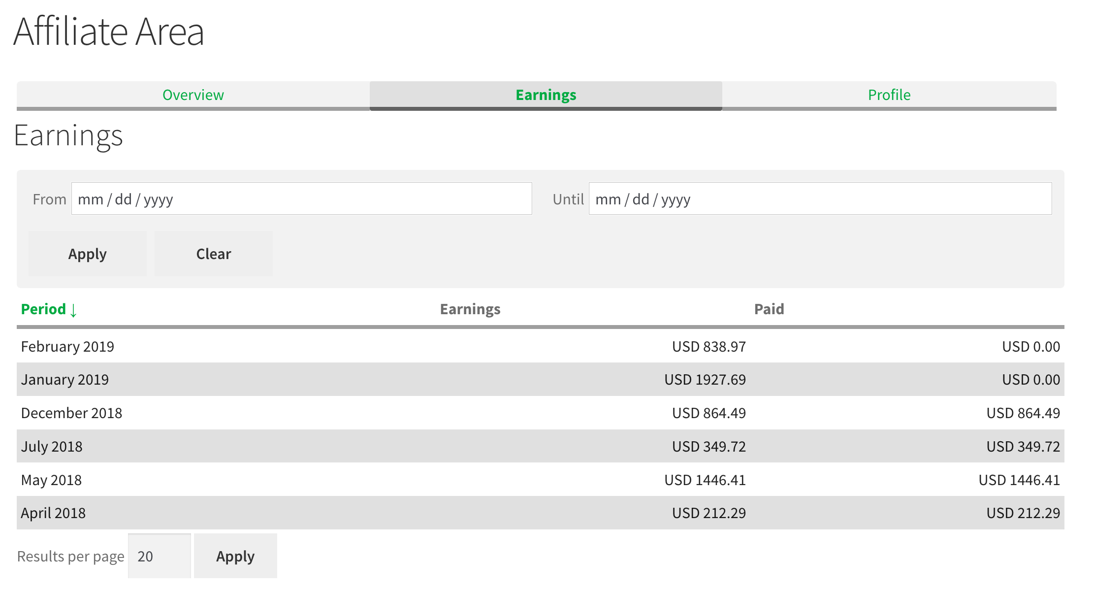 Affiliates Dashboard Earnings - Shows affiliates their monthly earnings on the front end in the dashboard section.