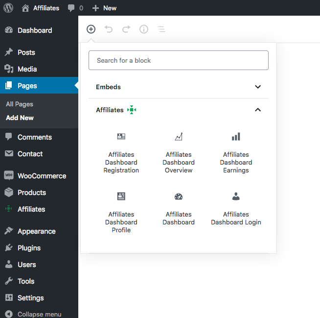 Affiliates Dashboard Blocks - An overview of available dashboard blocks that can be placed conveniently to compose affiliate areas.