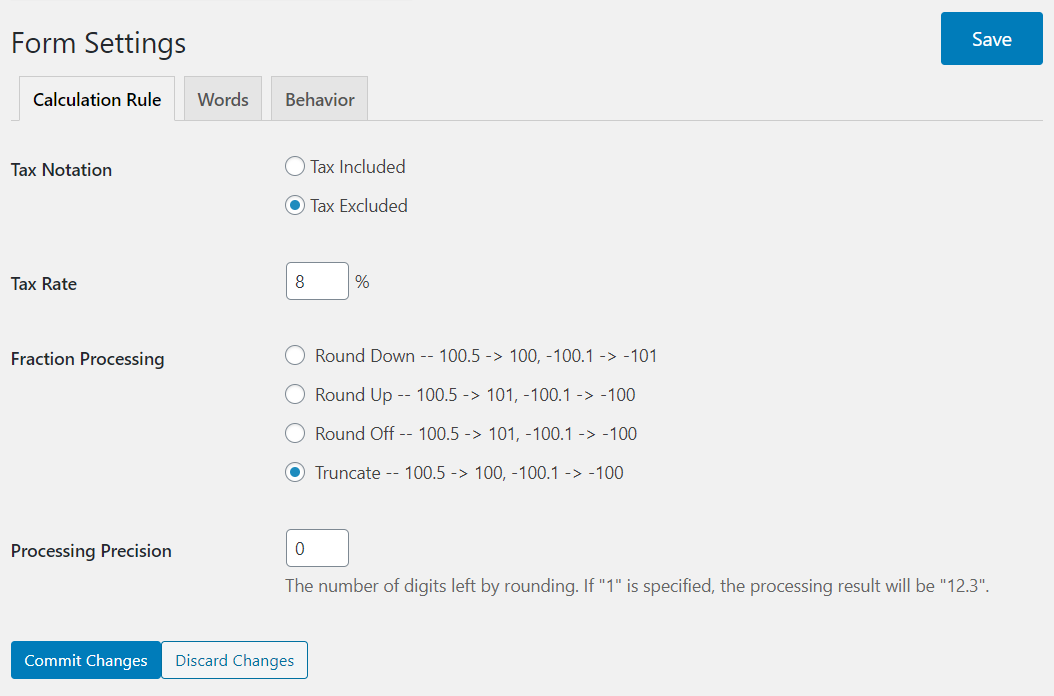 Form Settings at admin page