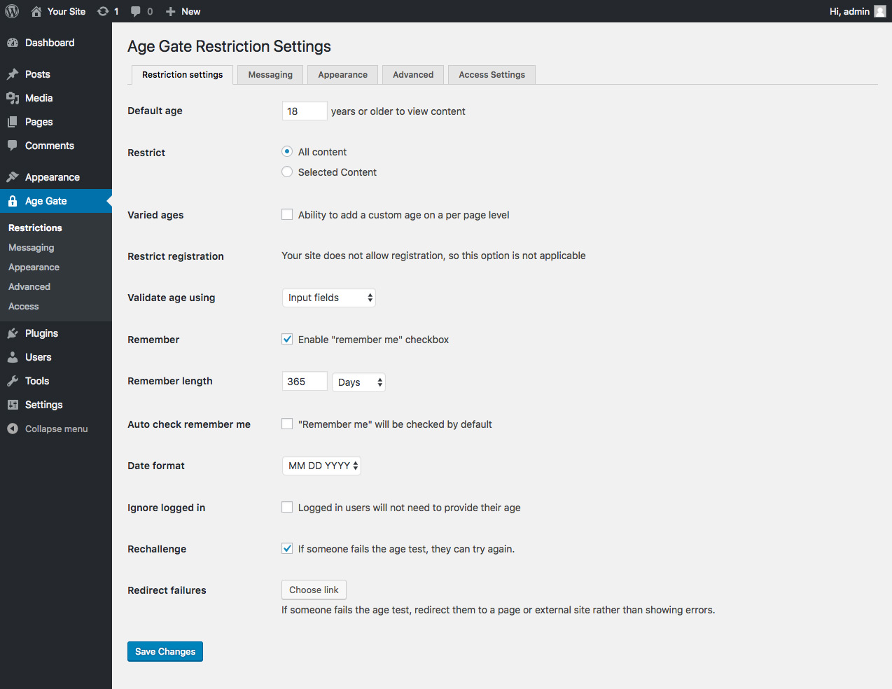 The Restrictions settings page