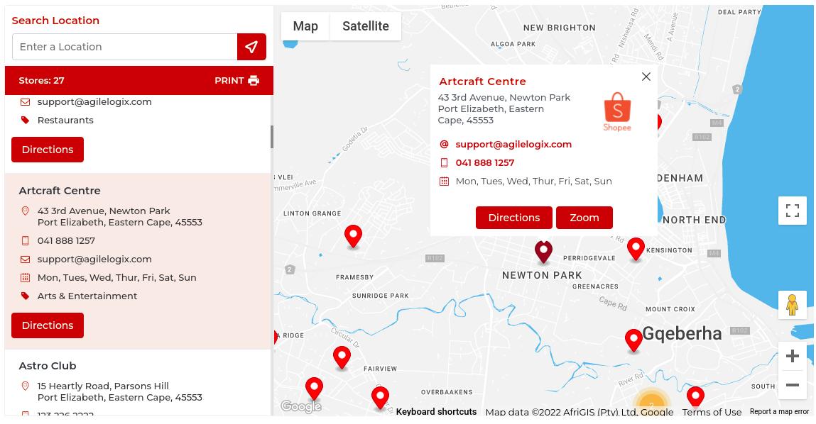 Mile radius from current location