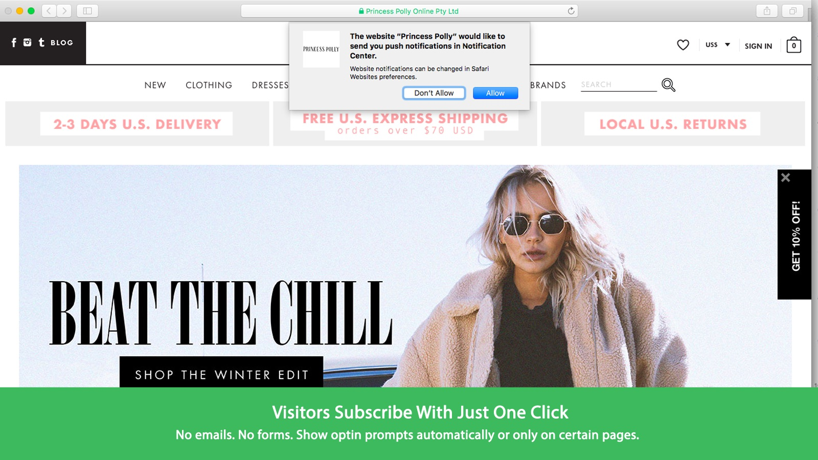Visitors Subsribe with just One Click