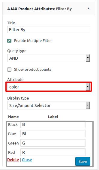 Ajax product attributes