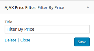 Ajax Price Filter
