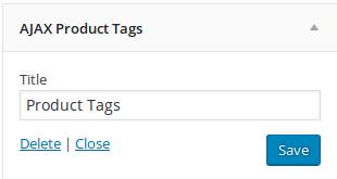 Ajax product Tags