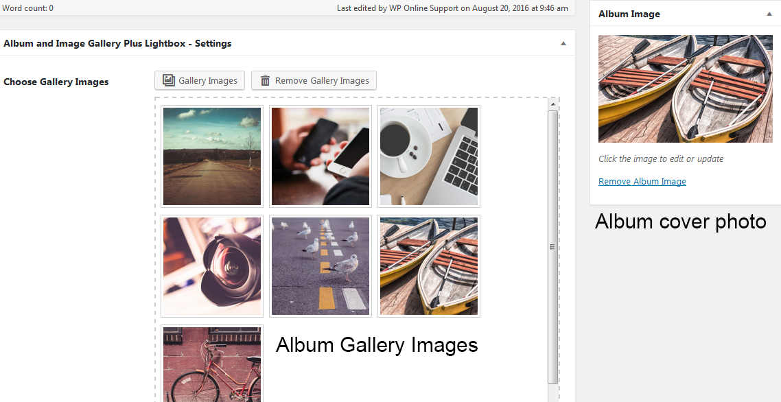 How to add Album cover photo and gallery