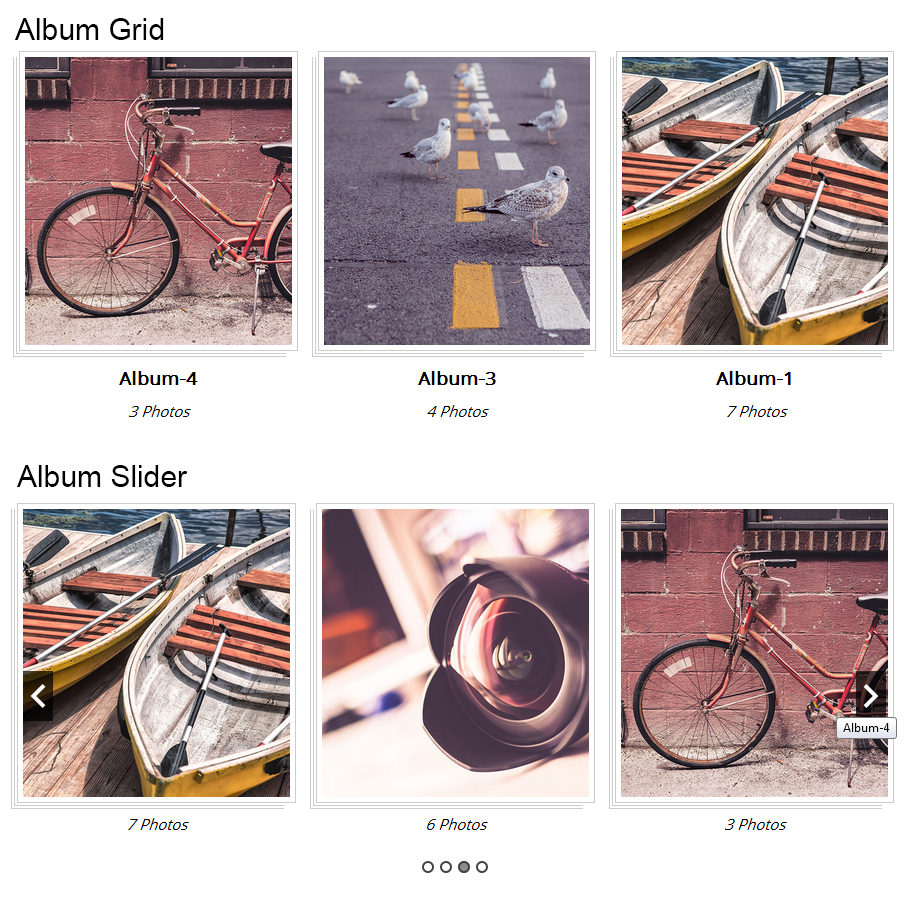 Album grid and slider