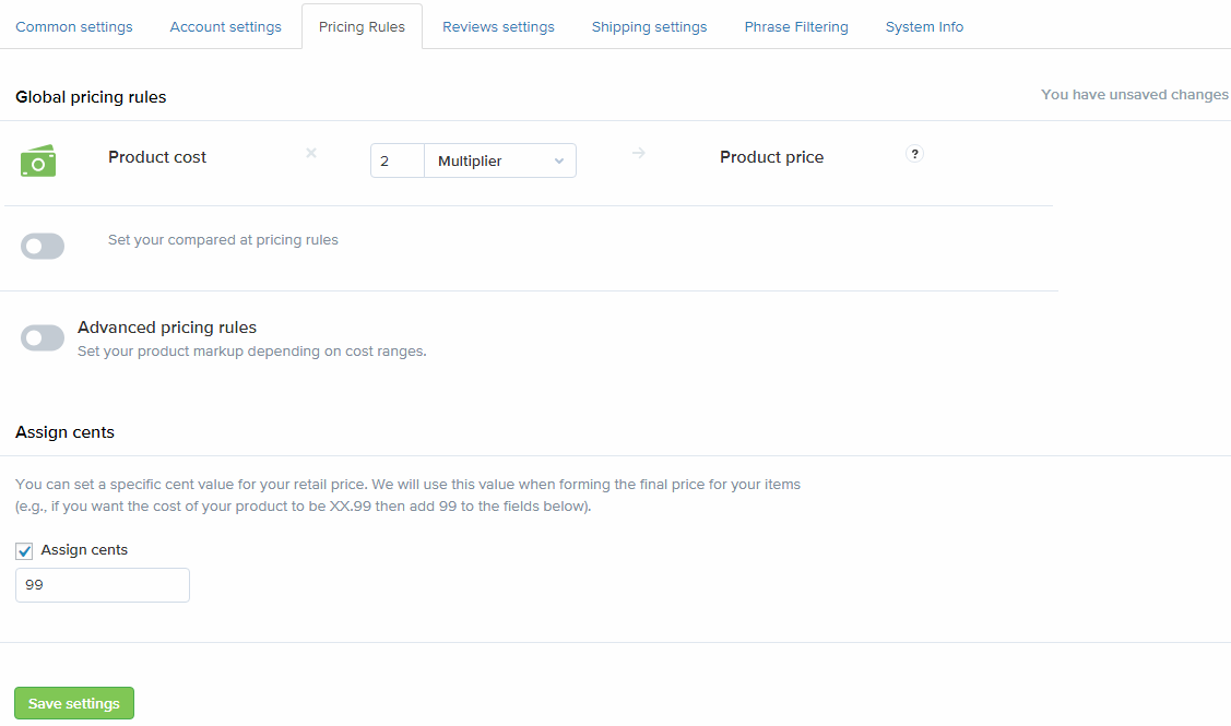 Set up your pricing markups.