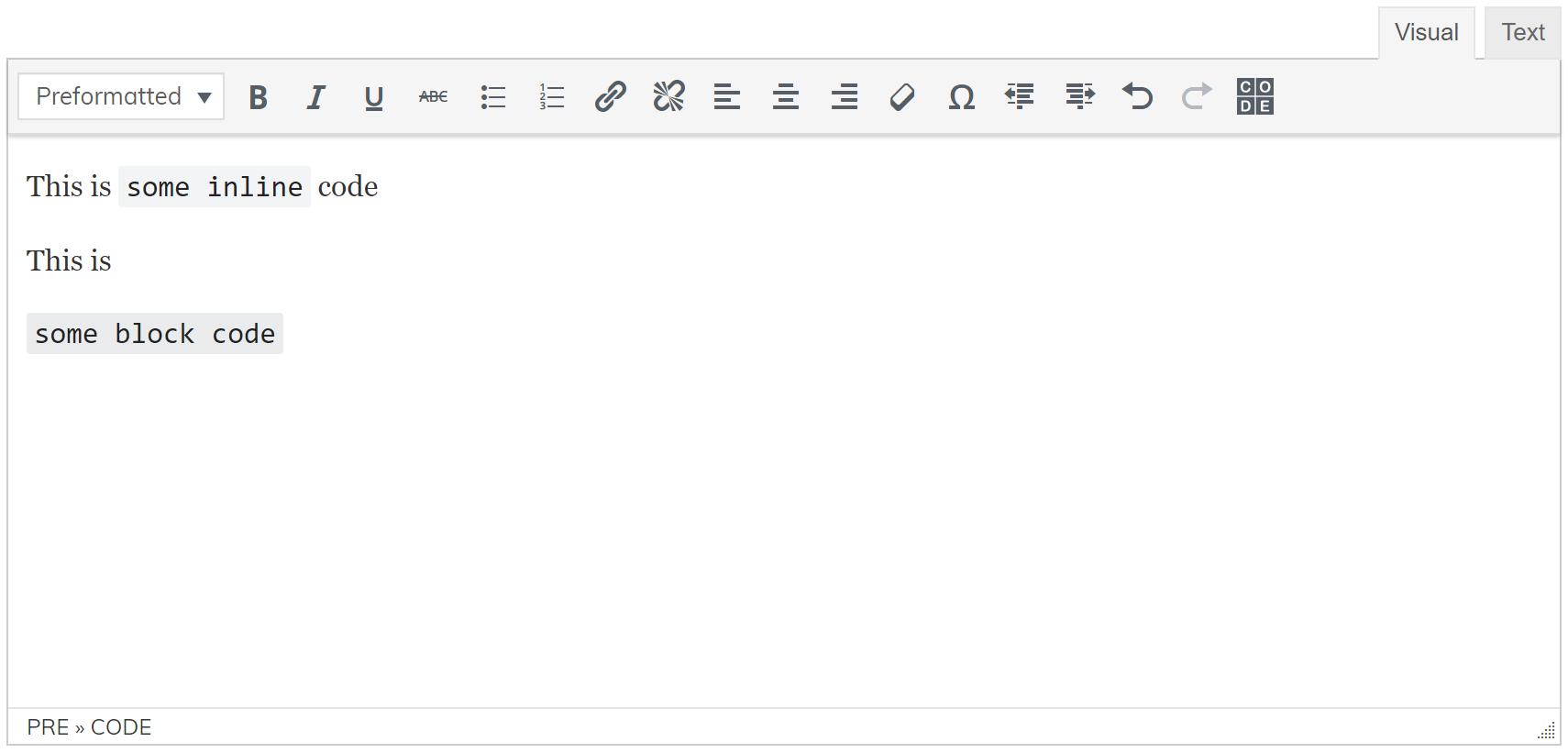 Alkane Code button in TinyMCE.