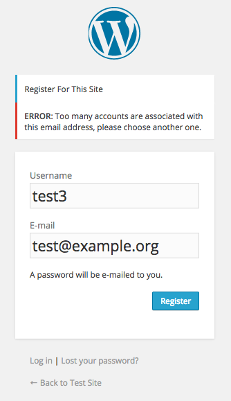 A screenshot of a registration attempt failing due to exceeding the limit on the number of allowed multiple accounts.