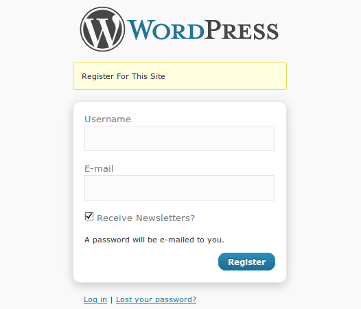 The subscription option on registration form