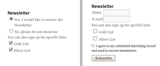 The widget for registered (left side) and not-registered (right side) users