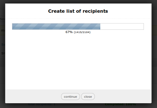 The ajax engine to generate list of recipients