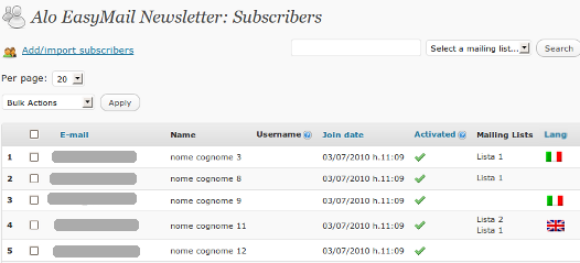 The list of subscribers in administration